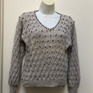 Handmade knitted V Neck Tan Sweater Size Small
